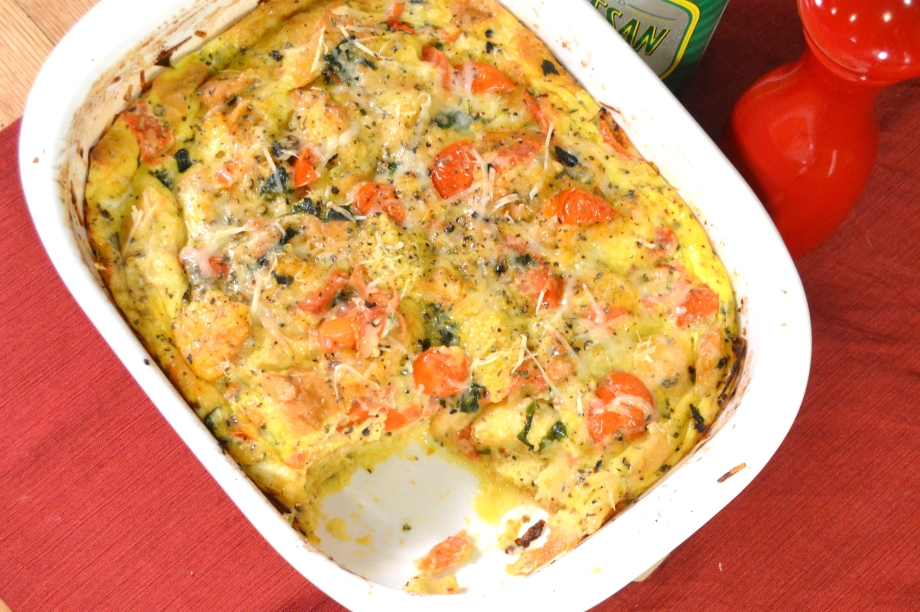 Hamburger Buns for Dinner? Tomato Basil Bread Pudding!