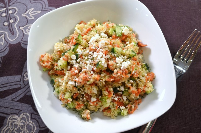 101 quinoa with salmon, feta and dill
