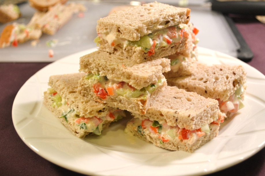 Vegetable Tea Sandwiches and Fancy Pants