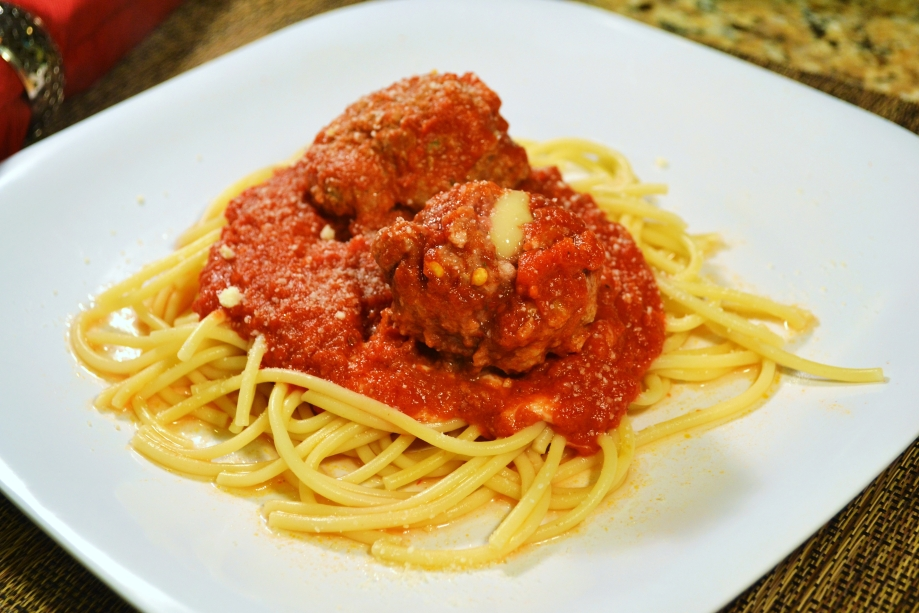 Spaghetti with Mozzarella-Stuffed Meatballs