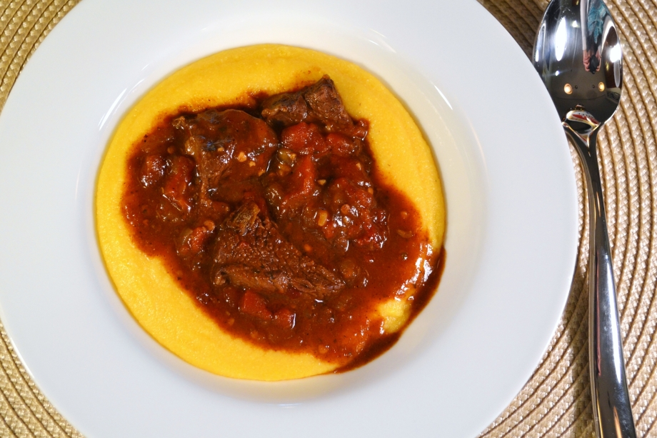 Slow Cooked Chipotle Beef with Cheddar Polenta