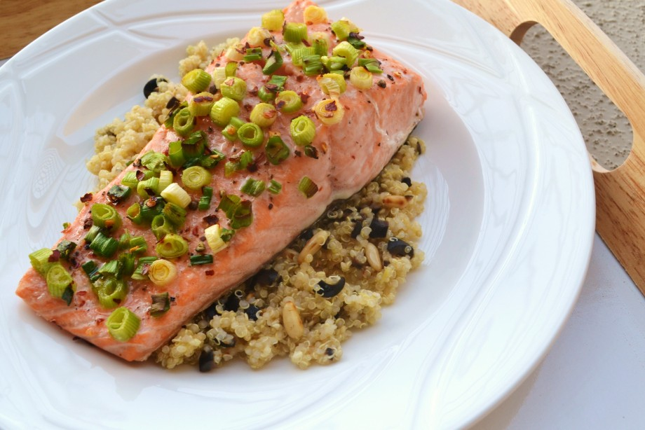 Spicy Salmon with Lemon-Olive Quinoa