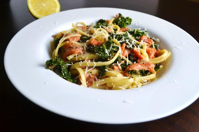 186 smoked salmon kale carbonara pasta