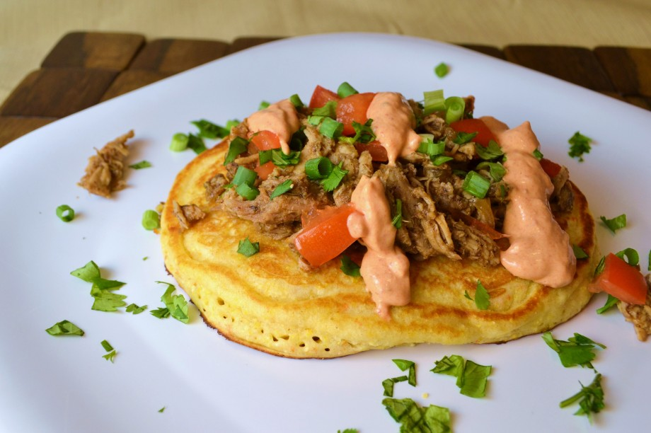Crockpot Cuban Pork with Cornbread Pancakes and Chipotle Cream