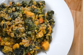 102 spicy lentils with sweet potatoes and kale