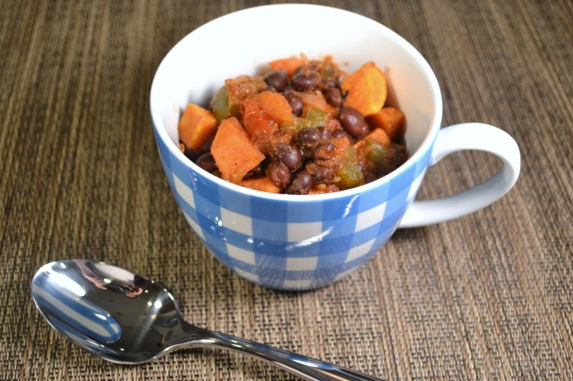 120 sweet potato and black bean chili