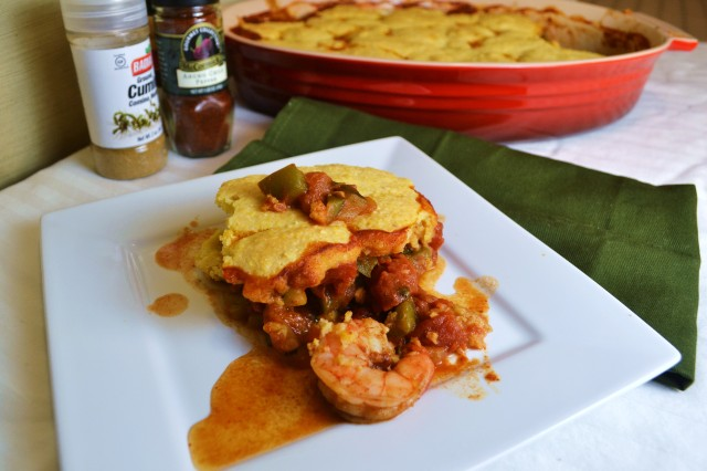 248 shrimp chili cornbread bake