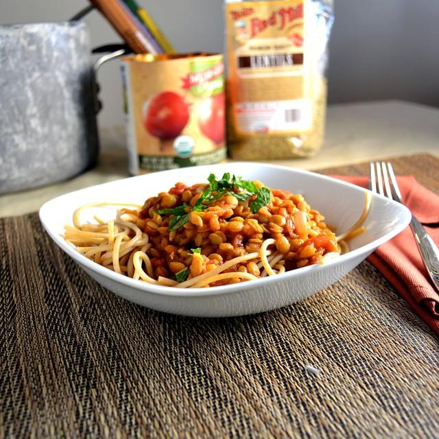 Lentil Marinara with Whole Wheat Spaghetti and Mint