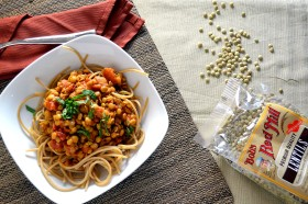 Lentil Marinara with Whole Wheat Spaghetti and Mint