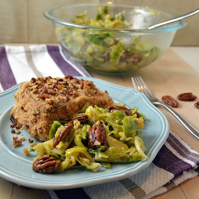 Brussels Sprouts Slaw with Mustard Dressing and Maple Pecans | windykitchen