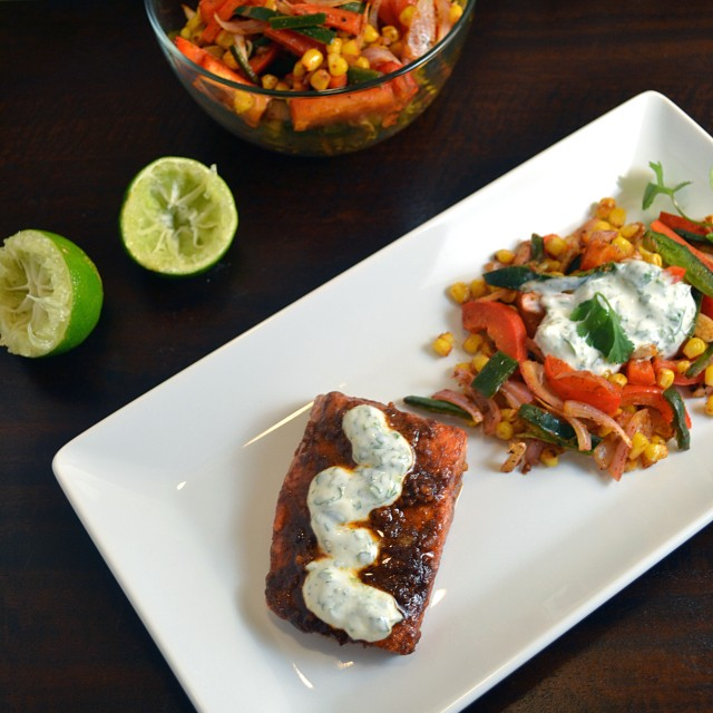 Chili Roasted Salmon with Cilantro Cream | windykitchen