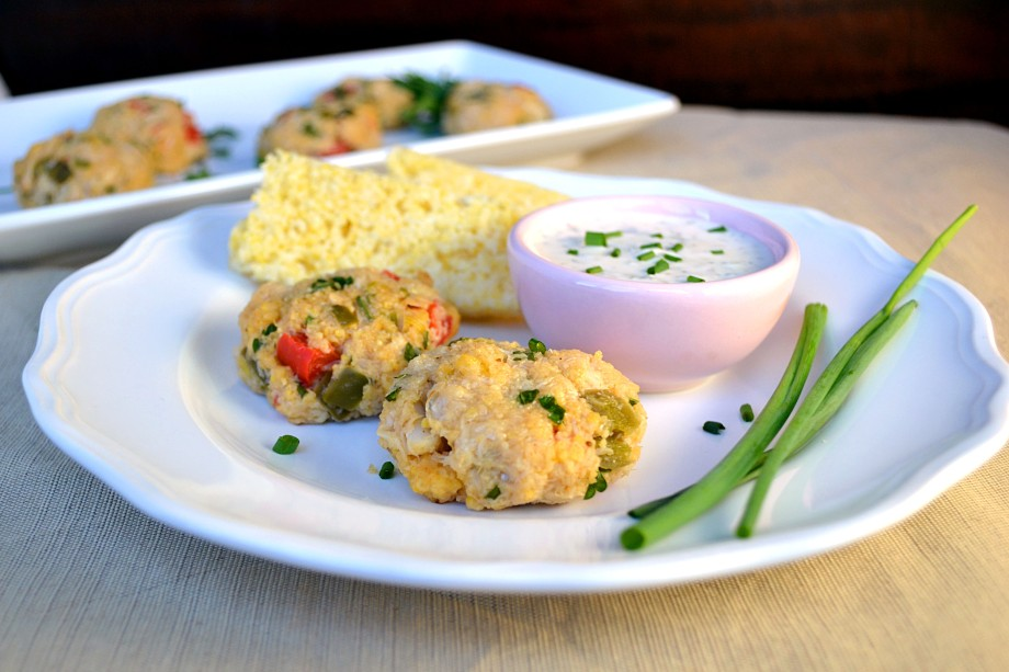 Cornbread Mini Crab Cakes with Lemon Caper Sauce and Chives