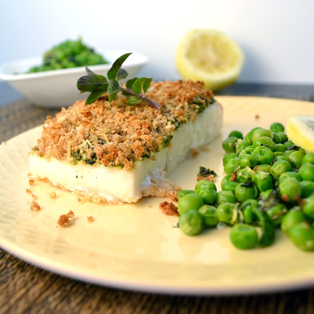 Parmesan Pesto Halibut with Lemon Mint Peas | windykitchen