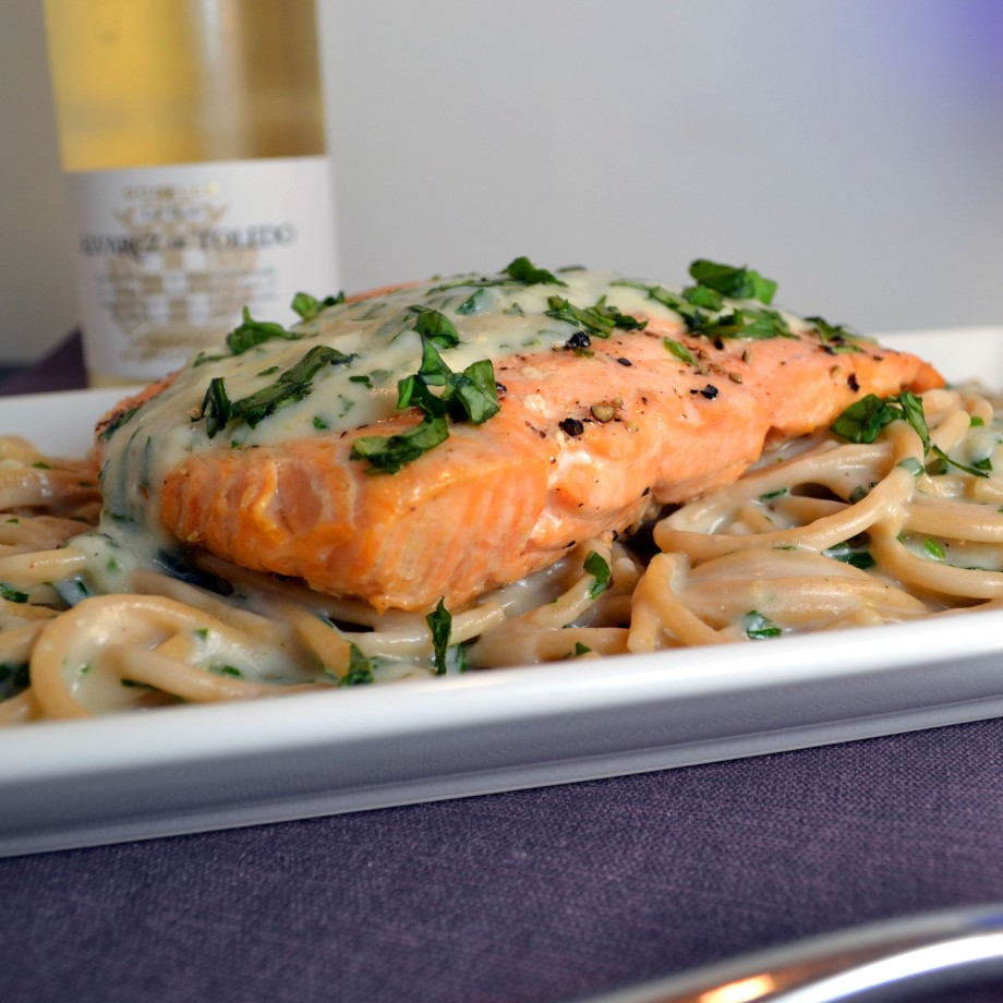 Crispy Salmon with Creamy Basil Noodles