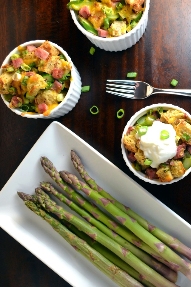 Ham, Cheddar, and Asparagus Bread Pudding | windykitchen