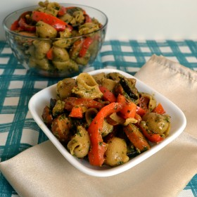 Chicken Sausage Pesto Pasta with Peppers and Eggplants | windykitchen