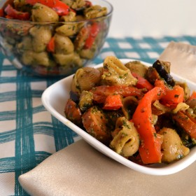 Chicken Sausage Pesto Pasta with Peppers and Eggplant | windykitchen