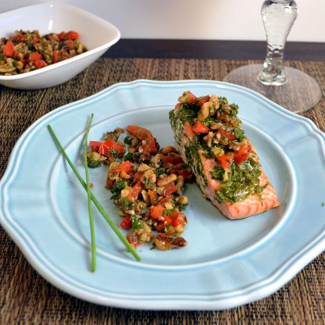 Salmon with Walnut Pepper Relish | windykitchen