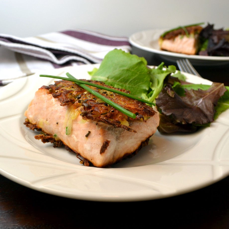 Potato-Crusted Salmon with Chive-Caper Aioli