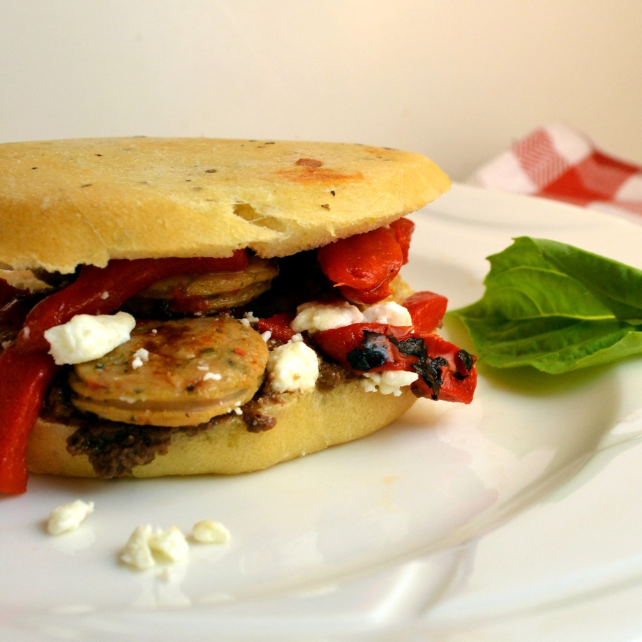 Sausage-Feta-Red Pepper Panini