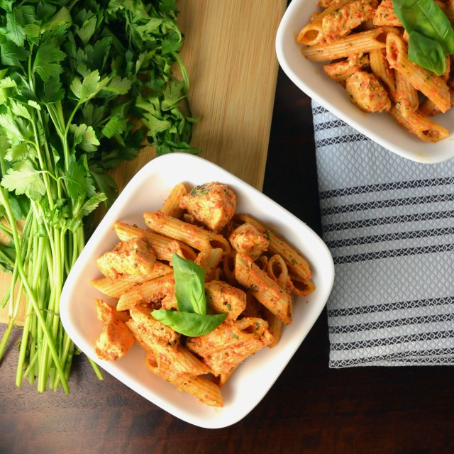 Creamy Red Pepper and Basil Chicken Penne | windykitchen
