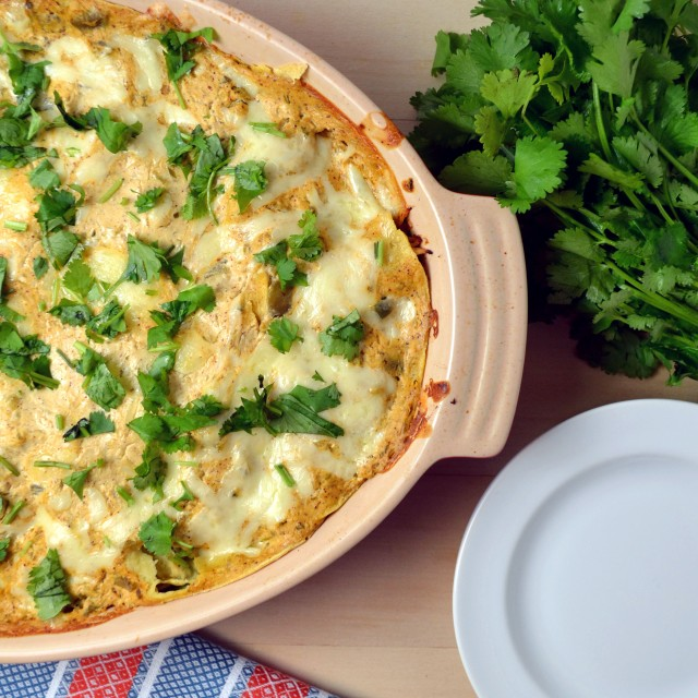 Stacked Green Chicken Enchilada Bake | windykitchen