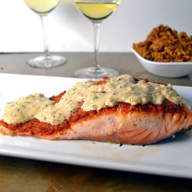Salmon with Garlic Dijon Cream Sauce | windykitchen