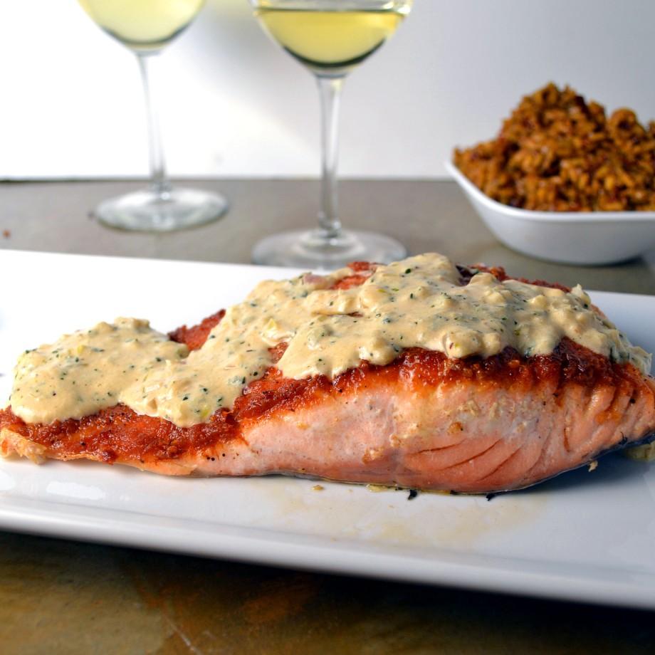 Salmon with Garlic Dijon CreamSauce