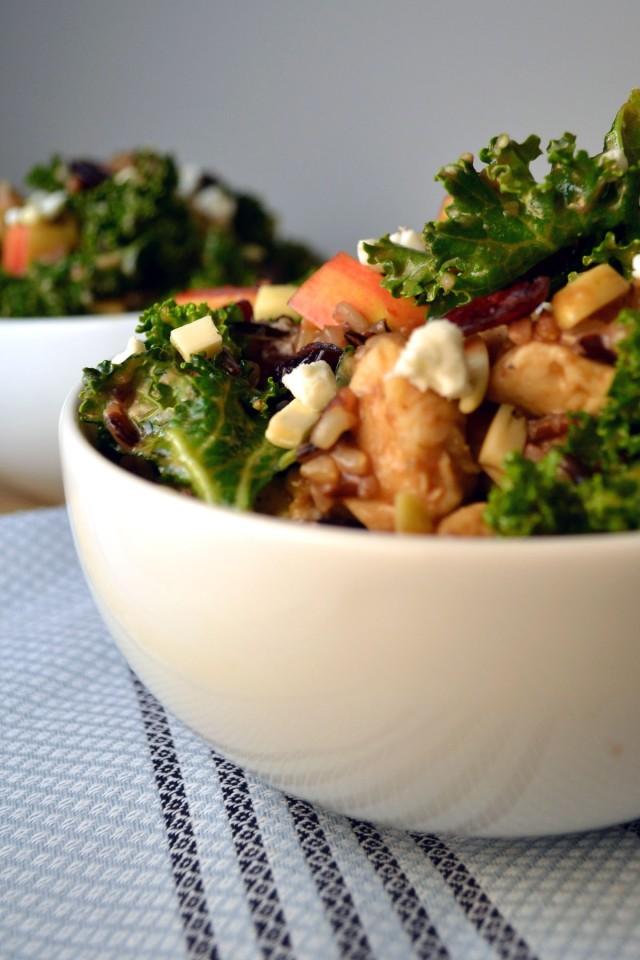 Kale, Wild Rice, Chicken Bowls w Honey Balsamic Dressing | windykitchen