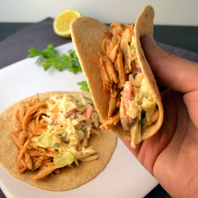 BBQ Chicken Tacos with Blue Cheese Slaw | windykitchen