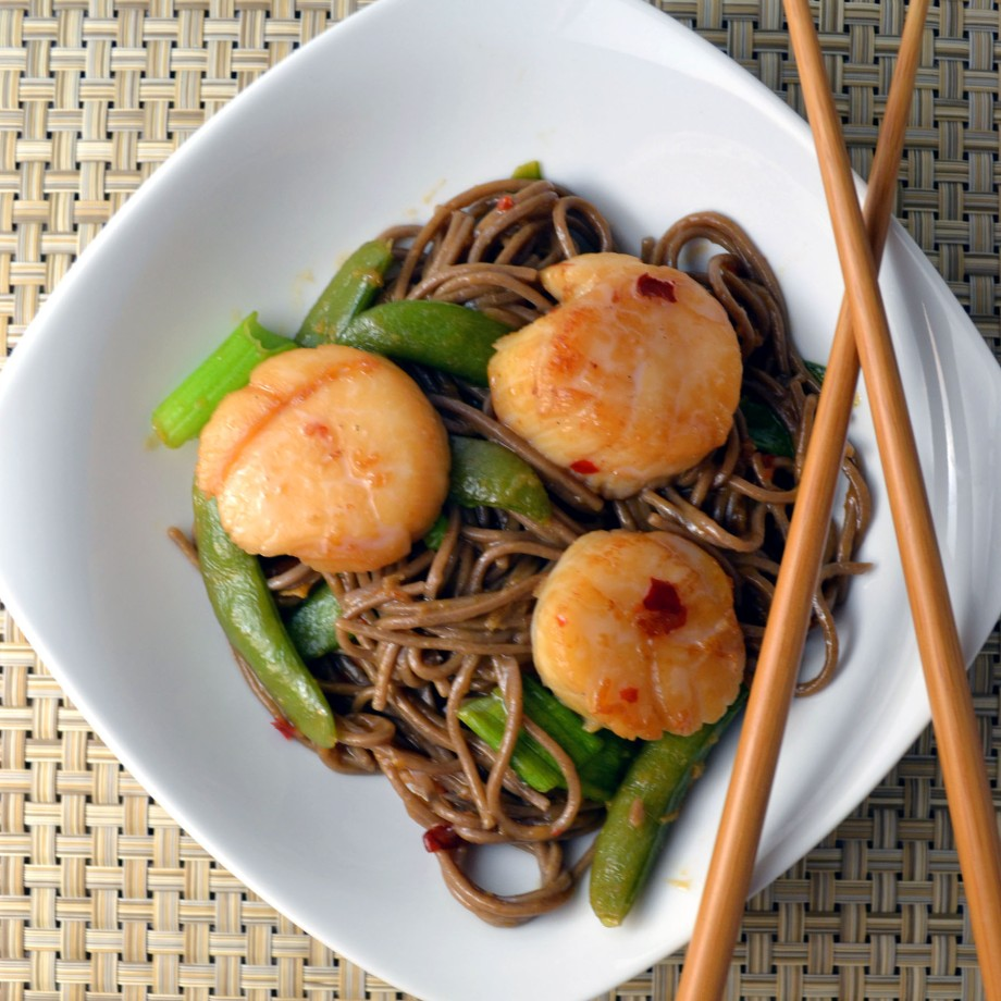 Soy Citrus Scallops with Udon Noodles and SnowPeas